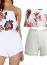 New Women Two Pieces Set Floral Print Crop Top Shorts sans manches Zipper Casual Top Pantalon Blanc