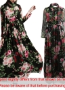 Vintage Women Maxi Robe d'été Flower Print Sheer Sleeve Boho Long Dress with Echarpe Noir