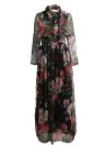 Vintage Women Maxi Summer Dress Flower Sheer Sleeve Boho Long Dress
