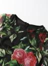 Урожай женщин Maxi летнее платье цветок печати чисто рукавов Бохо длинное платье с черным платком