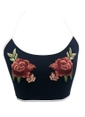 Sexy Women Floral Embroidery Halter Scoop Neck Sleeveless Casual Blouse