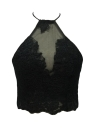 Mujeres Sexy Crop Top Backless Camis Halter bordado Sheer partido corto Tank Top Negro / Blanco / Oro