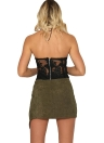 Women Sexy Backless Camis Halter Embroidery Sheer Party Short Tank Top