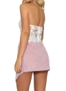 Femmes Sexy Crop Top Backless Camis Halter Broderie Sheer Party Short Tank Top Noir / Blanc / Or