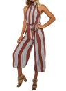 Mulheres Halter Backless Zipper Belted Stripe Jumpsuit Playsuit