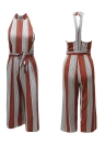 Frauen Halfter Backless Reißverschluss Belted Stripe Jumpsuit Playsuit
