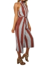 Mujeres Halter Backless cremallera Belted Stripe Jumpsuit Mono