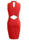 Sexy Bandage Solid High Neck sans manches Cut Out Back Femme Robe crayon