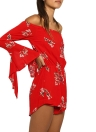 Vintage Women Maxi Summer Flower Print Plunge V-neck Fold Hem Dress