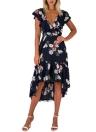 Vintage Women Maxi Летнее платье Цветочная печать Платье с V-образным вырезом Сгиб Платье из темного синего / Белого