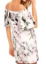 Floral Print Off Shoulder  Slash Neck Ruffle Sleeve  Women's One-Piece Dress