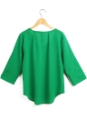 Fashion Roll Up Sleeves Ruched O Neck Buttons Breathable Women's Casual Blouse