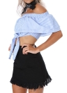 Fashion Stripe Print Off Shoulder Elastic  Neck Ruffle Overlay Tie Crop Top