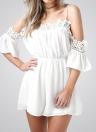 Fashion Off Shoulder Chiffon Crocheted Lace V Neck Elastic Waist Loose Jumpsuit