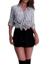 Art- und Weisestreifen-drehen-unten Kragen-lange Hülsen-Frauen beiläufige Bluse