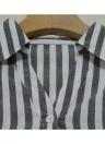 Moda stripe turn-down colar manga comprida mulheres blusa