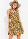 Summer  Chiffon Floral Dress Elastic Waist Sleeveless  Women's Mini Dress