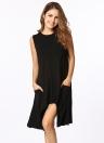 Summer Pockets Tunic  Asymmetrical Sleeveless Women's T Shirt  Dress