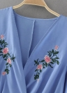 Sexy Flower Embroidery Cross V Neck  Short Sleeve Women's Casual Blouse