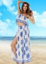 Sexy Strapless Crop Top Wide Leg Pants Floral Print  Beach Boho  Two-piece Set