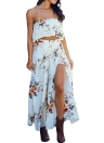 Sexy Strapless Crop Top Wide Leg Pants Floral Print  Beach Boho  Two-piece Set