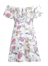 Vintage Floral Print Off Shoulder Belted Casual A-Line Mini Robe Femme