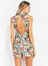 Moda de verano casual de alta cintura sin mangas de impresión floral corto corto Rompers