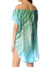 Summer Off Shoulder  Chiffon Leaf Print Asymmetric  Women's Beach Dress