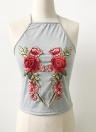 Sexy Floral Embroidery Sleeveless Adjustable Spaghetti Strap  Tank Top