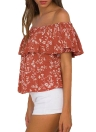 Sexy Off Shoulder Floral Print Ruffles Short Sleeve Women's Summer Blouse