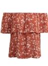 Sexy off ombro floral impressão babados manga curta mulher blusa de verão
