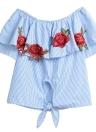 Gestickter Streifen aus Schulter Rüschen Applique Front Slash Damen Bluse