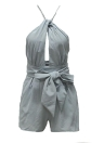 Sexy Solid Halter Neck Drape Cross Over Strappy Backless Women's Rompers