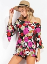 Sexy Floral Print Off Shoulder Flare 3/4 Sleeves Backless Women's Rompers