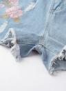 Mulheres bordadas Denim Ripped High Waist Shorts