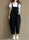 Women Loose Jumpsuit Overalls Solid Sleeveless Pockets Wide Legs Dungarees Playsuit Rompers