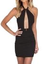 Сексуальные женщины сплошной цвет Холтер шеи Deep Plunge Backless One-Piece Dress