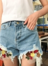 Fashion Floral Broderie Cracked Ripped High Waist Slim Femme Short Jeans