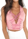 Sexy Deep V Neck  Lace Up Summer Sleeveless Women's Crop Top
