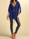 Fashion Sexy V Neck Batwing Sleeve Solid Loose Women's Casual Blouse