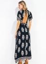 Femmes Maxi Print Dress Plunge V Neck sans dossier à manches courtes à manches courtes Robe longue bleu foncé