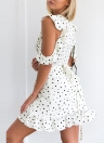 Sexy Polka Dots Print V-Neck Ruffle Irregular Elegant Women's Dress