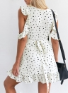 Sexy Women Mini Dress Polka Dots Print V-Neck Cold Shoulder Ruffle Irregular Elegant Dress White