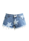 Moda Estrella Imprimir Frayed Tassel Denim Sexy Baja Cintura Mujer Jean Pantalones cortos