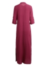 Retro Elegant Ladies Long Sleeve Stand Collar Solid Women's Maxi Dress