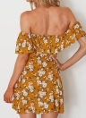 Summer Off Shoulder Flower Print Slash Neck Robe Femme