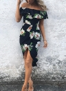 Sexy Summer Boho Off Shoulder Floral Print Asymmetric Ruched Women's Dress