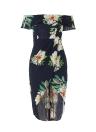 Sexy Summer Boho Off Shoulder Floral Print Robe asymétrique à la décolleté féminine