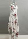 Сексуальная глубокая V шея Цветочная печать Асимметричное богемское женское платье