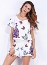 Moda floral mariposa O-cuello de la cintura elástica mujeres dos piezas Set